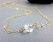 Herkimer Diamond Necklace, Opens Crown / Third Eye Chakras, 14K GF or Sterling Silver,  Double Terminated AAA Herkimer Healing Crystals