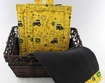 Kitchen Towel Set, Black Towel with John Deere Yellow and Green, 3 pc. Kitchen Set, Packaged Gift Set, Pot Holders