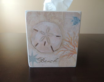 Sandollar on the Beach  - handmade wooden tissue box cover