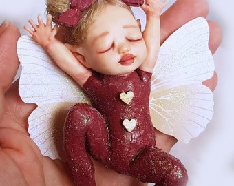 "OOAK Mini Baby Fairy ""Sparkles"" ~ Handmade Sculpture by Michele Roy"