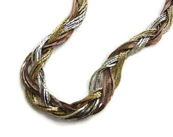 Braided choker Simple chain braided necklace Tri color necklace Gold silver copper Vintage chain Multistrand necklace Girlfriend jewelry
