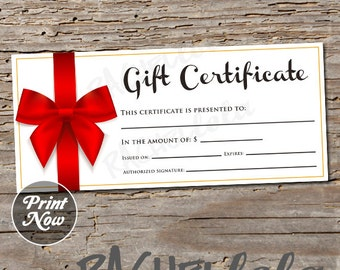 Red Bow, printable Gift Certificate template, valentine's day, direct sales, photography, gift voucher, gift card, instant digital download