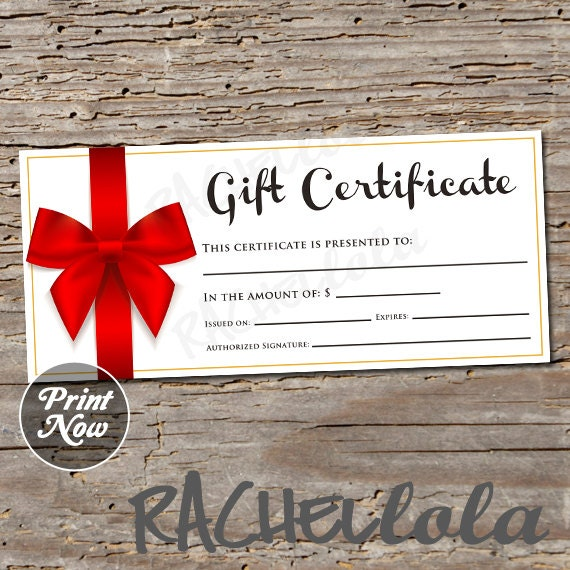 Items Similar To Red Bow, Printable Gift Certificate