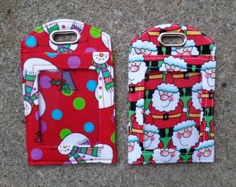 Snowmen and Jolly Santas Fabric ID Work Badge Holder Protector Fabric Identification Badge Luggage Bag and Gift Tags to Mark your Gear.