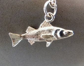 Swimming Striper Necklace is a sterling and Argentium silver trophy catch for keeps! Rockfish, Striped Bass, Channel Bass, you name it!