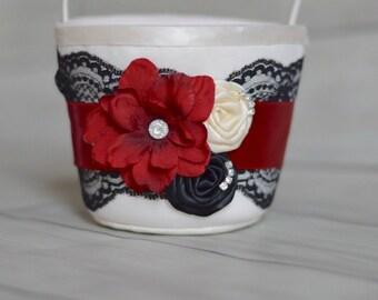 Black Red and ivory Flower  Girl Basket