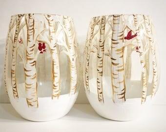 Birch Trees Stemless Winter Wine Glasses