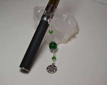 ECigarette Charm Natural Jade and Swarovski Crystal Lotus Flower Charm
