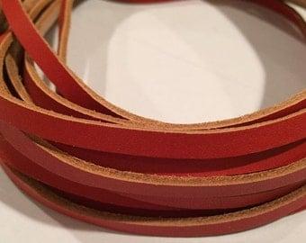 "SALE: Per 16"" 5mm Flat Orange with Natural Trim Flat Leather Cord Strap"