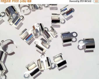 10 Silver Steel Cord Ends, 5mm-7mm round leather finding, Crimp End Caps, Bracelet, Necklace, DIY Jewelry Supplies