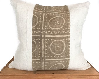 Rare Vintage Tan/White Mudcloth Pillow African Mud Cloth Pillow Cover 18x18