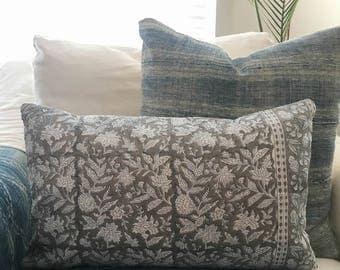 "Indian Block Print Pillow Cover Gray 12x20"""