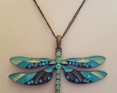 Bronze Antique Blue/Green Rhinestone Enamel Painted Dragonfly Necklace