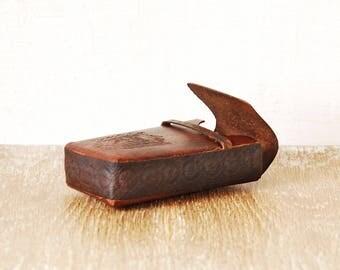 Vintage Genuine Leather Brown Cigarette Case, Cigarette Box Holder Handmade, Retro Cigarettes Case Leather