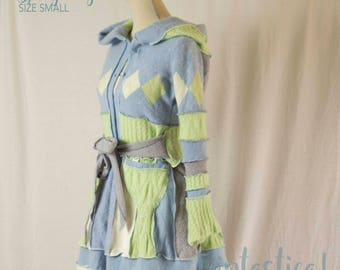 Cashmere Sweater Coat, Upcycled Sweater Coat, Pixie Jumper, Soft and Cosy Sweater, Triptastica Eco Couture