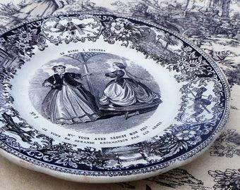 Creil et Montereau Antique French Transfer Printed Plate 1800's Le Monde A L'Envers's Earthenware Black White L M & Cie French Faience