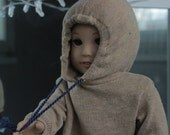camel cropped oversized hoodie with contrast drawstrings for american girl dolls.