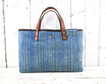 WEST AFRICAN INDIGO Bag Purse Hand Dyed Handwoven with Leather Straps