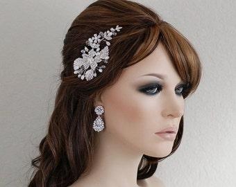 Birdcage Veil Comb , Freshwaet Pearl Crystal Comb , Wedding Comb , Bridal Comb , Bridal Hair Accessories , Bridal Rhinestone Comb