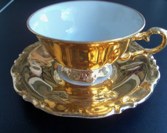 Waldershof Bavaria Germany Gold Plated Cup & Saucer