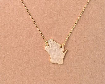 Wisconsin state bar necklace, wisconsin necklace, Wisconsin  bar necklace, WI state bar necklace, Wisconsin pride, Madison city necklace