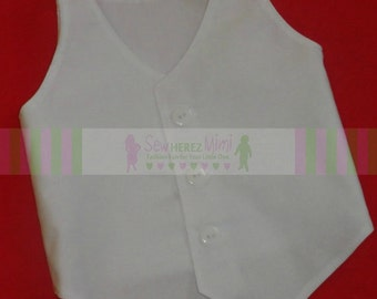 White Cotton Vest Newborn Infant 2T 3T 4 5 6 7 8 9 10 for a Boy or Girl Gender Neutral