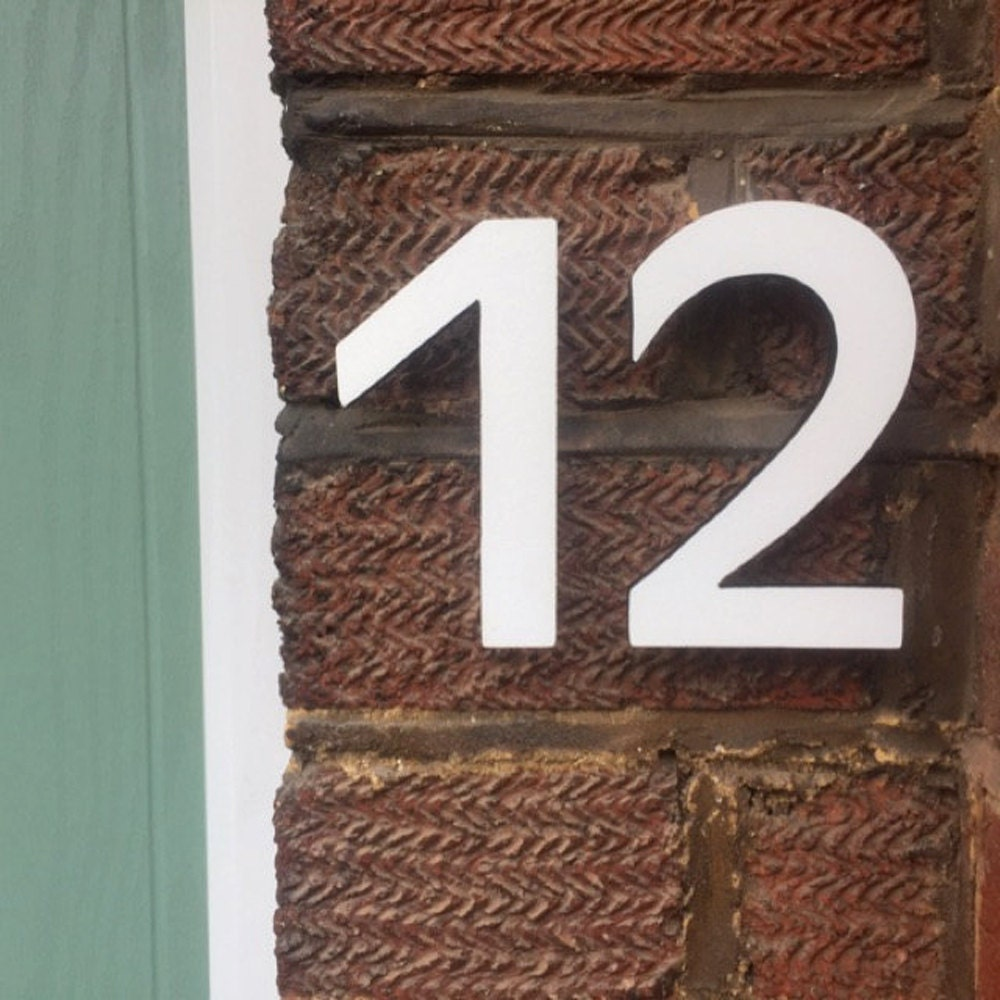 modern house numbers on brick Modern House