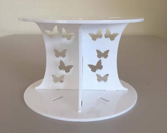 "Butterfly Round White Gloss Acrylic Cake Pillars/Cake Separators, for Wedding / Party Cakes 10cm 4"" High, Size 6"" 7"" 8"" 9"" 10"" 11"" 12"""