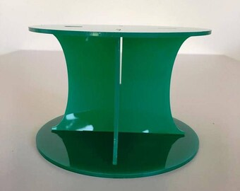 "Plain Round Green Gloss Acrylic Cake Pillars / Cake Separators, for Wedding / Party Cakes 10cm 4"" High, Size 6"" 7"" 8"" 9"" 10"" 11"" 12"""