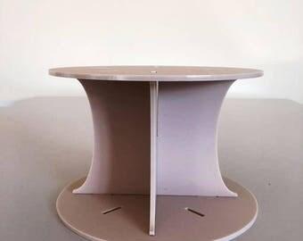 "Plain Round Latte Beige Mat Acrylic Cake Pillars / Cake Separators, for Wedding / Party Cakes 10cm 4"" High, Size 6"" 7"" 8"" 9"" 10"" 11"" 12"""