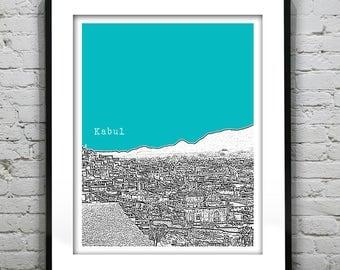 Kabul Afghanistan Skyline Poster Art Print Middle East