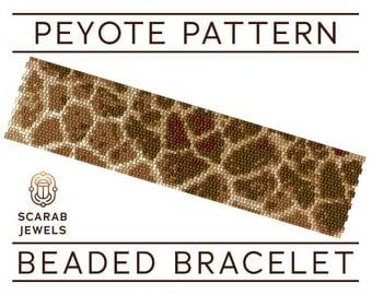 Giraffe Pattern | Peyote Beading Bracelet | Cuff Bead Pattern | Miyuki Delica | PDF Instant Download