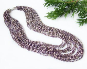 Mother's Day Gift grandma Layered Lilac silver beaded beads jewelry Seed bead necklace Beadwork stacked Necklace Elegant feminine shimmering