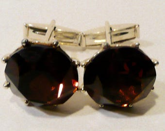 Mid Century Cufflinks With Brown Faceted Glass Cabochon