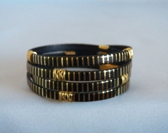 Black and Gold Striped  Leather Wrap Bracelet