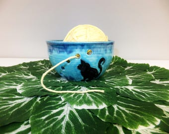 Aqua Blue Cat Yarn Bowl, Knitting, Crocheting