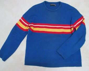 1980s Mens Demetre Sweater,Large Demetre Sweater,Colorblock Sweater, Royal blue sweater, Vintage Demetre sweater, Demetre Wool Ski Sweater