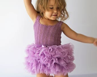 Little Ballerina Tutu Dress with Stretch Crochet Top.Tulle dress  for girls with lacy crochet bodice.
