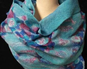 Nuno felted scarf, blue. Silk, wool, felted shawl, handmade for women