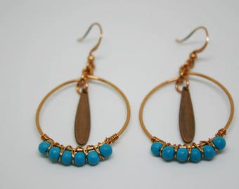 Turquoise and Copper Drop Earrings, Turquoise Dangle Earrings, Wire Wrap Earrings, Turquoise Earrings