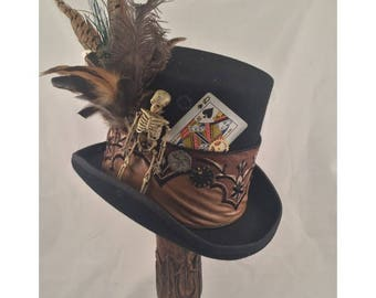 STEAMPUNK TOP HATS, Steampunk Shop, Steampunk Accessories, Mad Hatter Hat, Turquoise, Red, Clock Parts