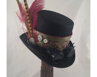 STEAMPUNK TOP HATS, Steampunk Shop, Steampunk Accessories, Tall Top Hat, Burgundy, Olive, Goggles
