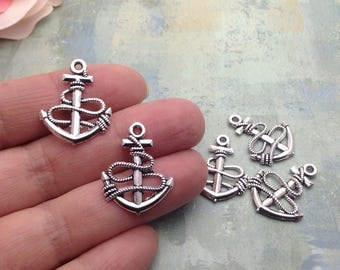 10 Anchor Charms / Silver Anchor Charms / Antique Silver Anchor Charms / Silver Anchor Charm / Maritime Charms / Nautical Charms