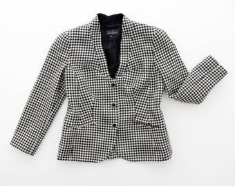 Vintage Jacket // Luisa Spagnoli Black and white Houndstooth Blazer