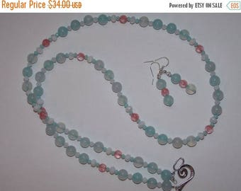 20%OFF Genuine Sea Blue Agate Cherry Quartz and White Crystal Necklace and Earrings Set