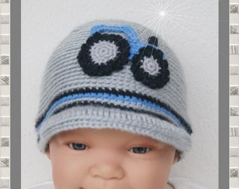 Baby hat of new born Hat tractor grey blue with shield