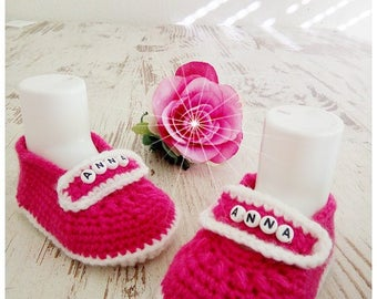 Baby shoes crochet baby shoes pink white handmade personalized name