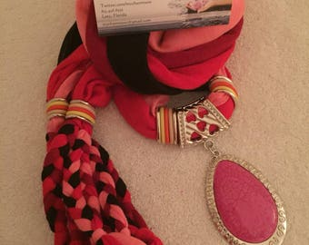 Color Blend Series -Red/Pink/Black/Burgandy Braided scarf with pink charm