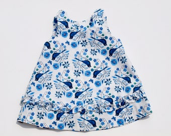 "Eco-friendly Blue & White Organic Cotton ""Birds and Flowers"" Pinafore A-line Dress Size 2 Organic Cotton READY TO SHIP Baby Shower Gift"