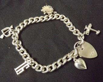 Vintage Girls Sterling Silver Bracelet plus 5 Sterling Silver Charms plus Padlock
